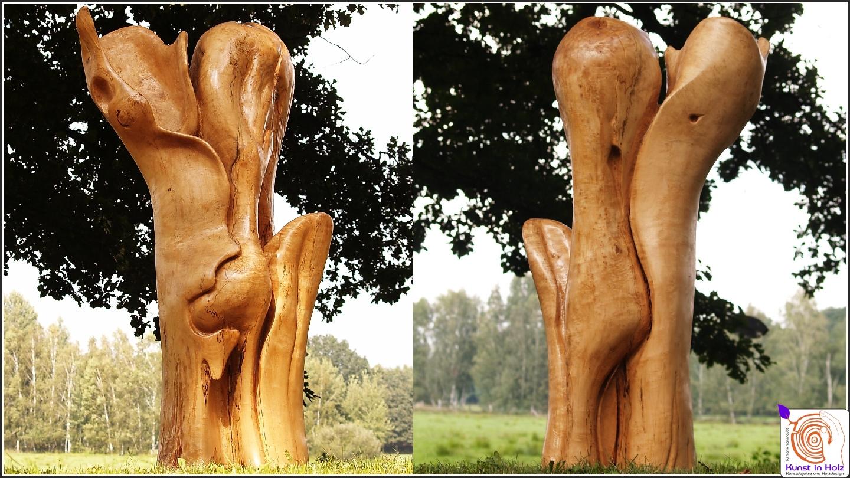 Holzskulptur - Kunstobjekt im formschönen Holzdesign!