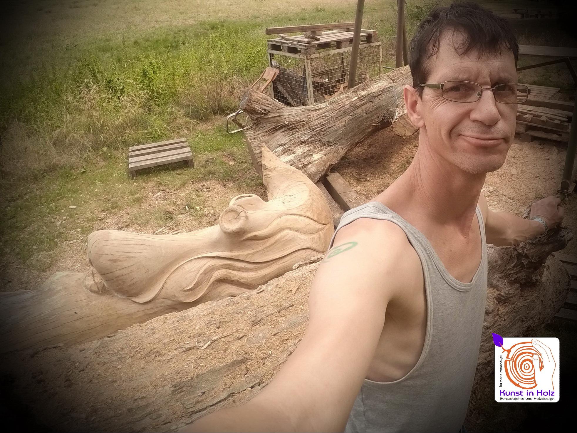 ausgefallene Skulptur aus Eiche by Mario Mannhaupt