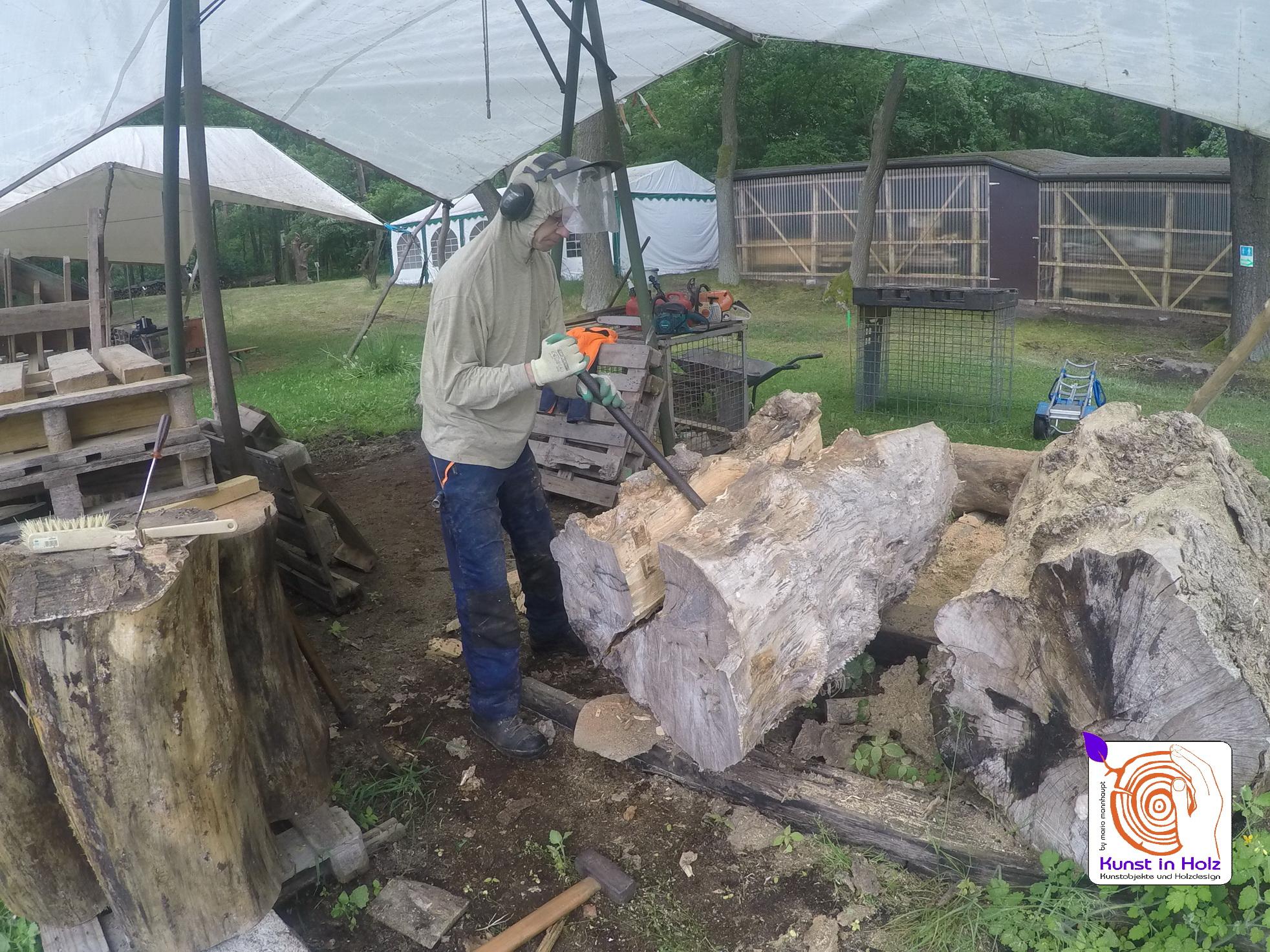 Entstehung der Holzskulptur umhuellt!