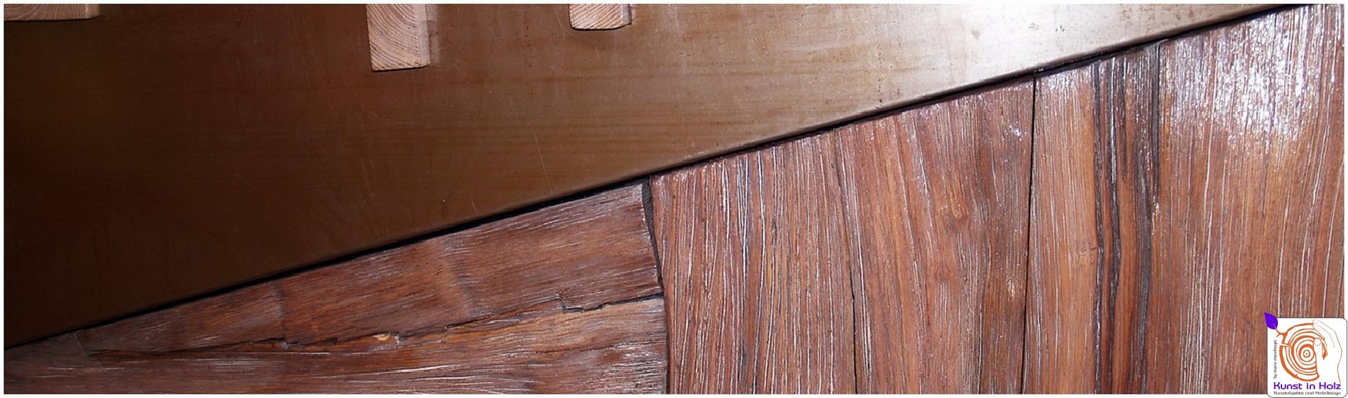 Wandrelief aus Holz und Stahl